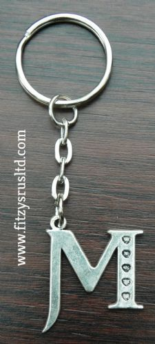 Letter M Name Initial Metal Keyring Key Ring Souvenir